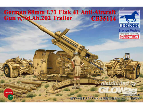 Bronco German 8.8cm L71 Flak41 Anti-Aircraft Gun w/Sd.Ah.202 Trailer 1:35 (CB35114)