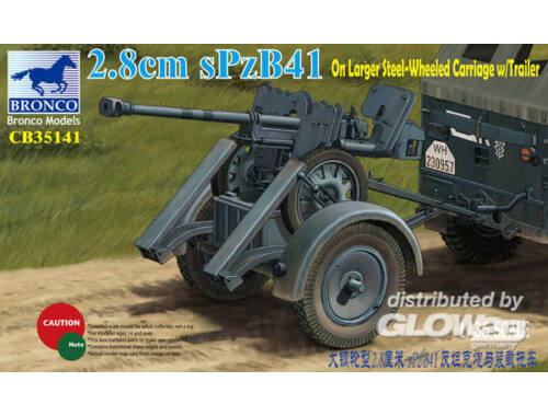 Bronco 2.8cm sPzb41 On Larger Steel-Wheeled carriage w/Traile 1:35 (CB35141)