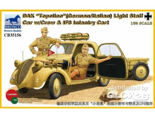 Bronco DAK Topolino (German-Italian)Light Staff Car w/Crew   IF8 Intantry Cart 1:35 (CB35156)