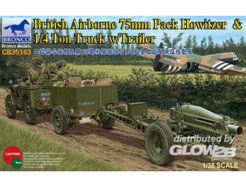 Bronco 75mm Howitzer M1A1(British Version)  1/4 Ton Truck with Trailer   Crew 1:35 (CB35163)