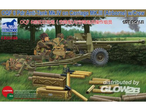 Bronco OQF 6 PDR Anti-Tank Mk.IV on Carriage MK.III(Airborna) w/Crew 1:35 (CB35168)
