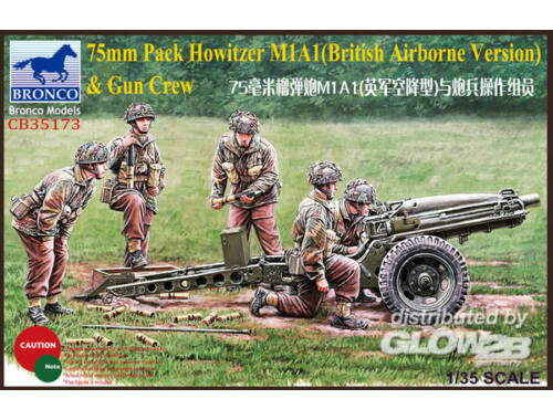 Bronco 75mm Pack Howitzer M1A1(British Airborne Version)   Gun Crew 1:35 (CB35173)