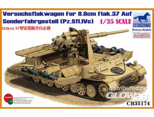 Bronco Versuchsflakwagen 8.8cm Flak 37 auf Sonderfahrgestell(Pz.Sfl.IVc) 1:35 (CB35174)