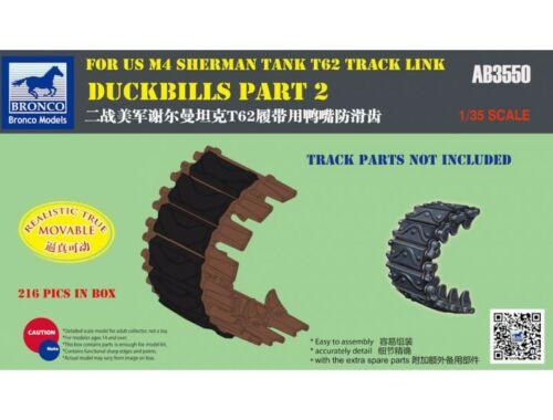 Bronco Duckbills part 2 For US M4 SHERMAN TANK T62 Track Link 1:35 (AB3550)