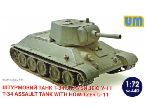 Unimodel T-34 Assault tank with howitzer U-11 1:72 (440)