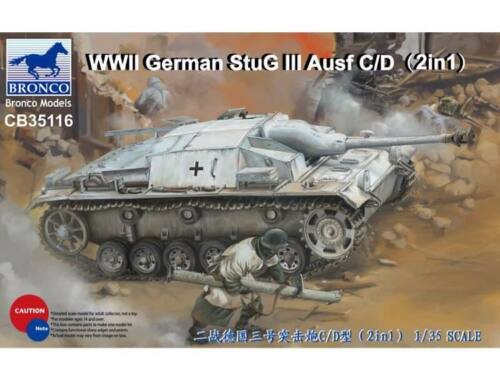 Bronco WWII German StuG III Ausf C/D with 75mm StuK 37/L24 75mm StuK40/L48(2in1) 1:35 (CB35116)