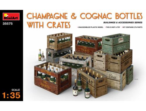 Miniart Champagne   Cognac Bottles w/Crates 1:35 (35575)