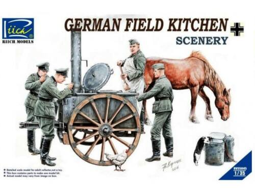 Riich German Field Kitchen with Soliders(cook  three German soldiers,food containers 1:35 (RV35045)