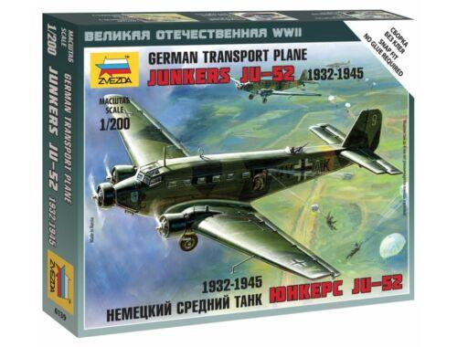 Zvezda Transport Plane Junkers JU-52 1932-1945 1:200 (6139)