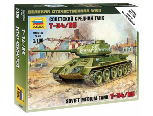 Zvezda Soviet Tank T-34/85 Military small sets 1:100 (6160)