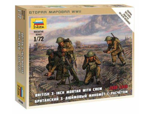 Zvezda British Mortar w/crew 1939-42 1:72 (6168)
