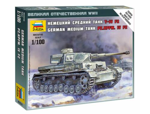 Zvezda German Medium Tank Pz.Kpfw. IV F2 1:100 (6251)
