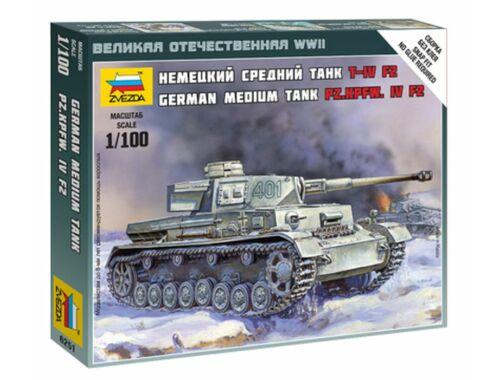 Zvezda German Medium Tank Pz.Kpfw. IV F2 1:100 (6251)
