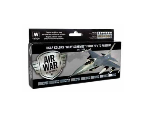 Vallejo Model Air Paint Set (8 x 17ml) - USAF Gray Schemes 1970 to present (71156)