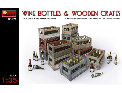 Miniart Wine Bottles   Wooden Crates 1:35 (35571)
