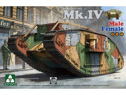 Takom WWI Mk.IV 2 in 1 Spec. Ed. w/new decal cement-free 1:35 (2076)