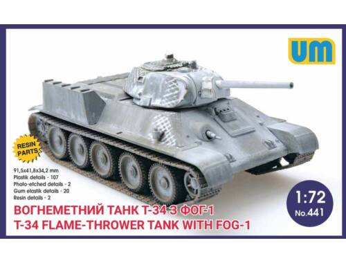 Unimodel T-34 flame-throwing tank with FOG-1 1:72 (441)