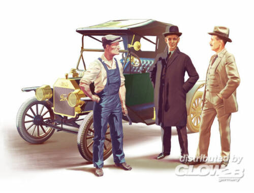 ICM Ford Team Model T 1913 Roadster car kit and 3 figures 1:24 (24007)