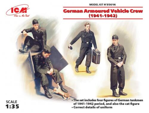 ICM German Armored Vehicle Crew 1941-1942 4 figures and cat 1:35 (35614)
