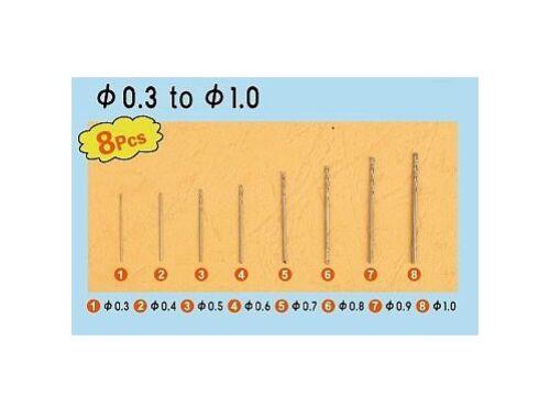 Trumpeter Master Tools Twist Drilling Auger Bit set1 (8 pcs, 0,3-1,0mm) (09954)