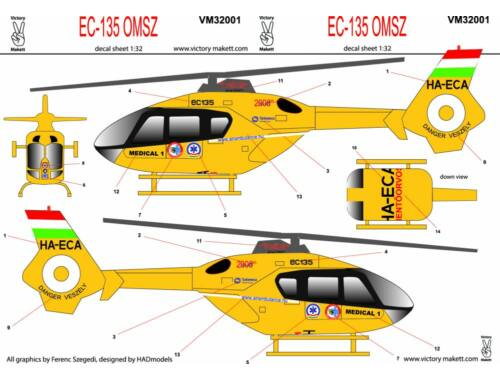 Victory EC-135 OMSZ service matrica 1:32 (32001)