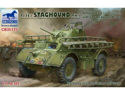 Bronco T17E1 STAGHOUND MK.I (Late)w.12 Feet Assault Br. 1:35 (CB35115)