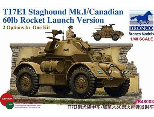 Bronco T17E1 Staghound Mk.I/Can. Rocket Launch (2in1) 1:48 (ZB48003)