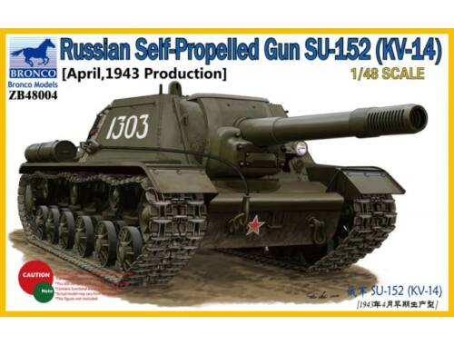 Bronco Russian SPG SU-152, KV-14 (April,1943) 1:48 (ZB48004)
