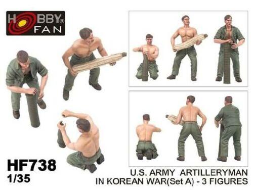Hobby Fan U.S.Army artillery man in Korean war (set A) (3 fig) 1:35 (HF738)