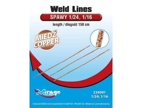 Mirage Hobby Weld Lines length:150cm CopperMetal 1:24 (224001)
