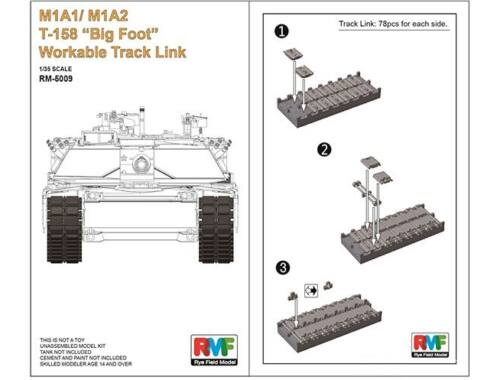 """Rye Field Model M1A1/M1A2 T-158""""Big Foot""""Workable Track Link 1:35 (5009)"""