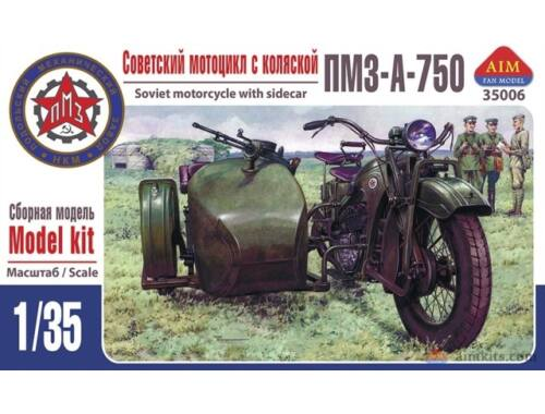 AIM PMZ-A-750 Soviet motorcycle with sidecar 1:35 (35006)