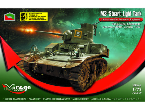 Mirage Hobby M3 STUART Light Tank 2/6th Buna,Gona,Dec.42 1:72 (726069)