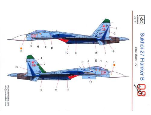HADmodels Su-27 (Russian 08 Shark) 1:72 matrica (72171)