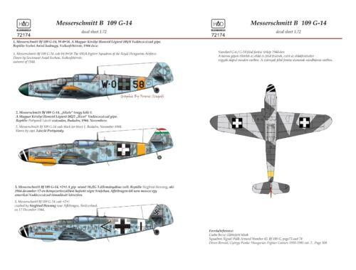 HADmodels Me Bf109 G-14 (WO 58, Black 1;2 1) 1:72 matrica (72174)