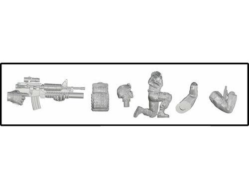 CMK 1/48 Kneeling Soldier (on left knee), US Army Infantry Squad 2nd Division (part 2) 1:48 (F48332)