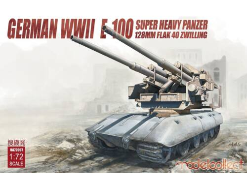 Modelcollect German WWII E-100 super heavy panzer with 128mm flak 40 zwilling 1:72 (UA72097)