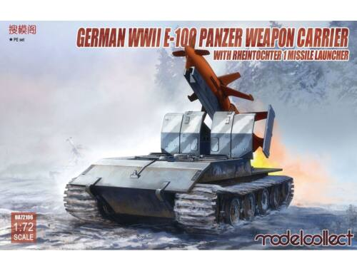 Modelcollect German WWII E-100 panzer weapon carrier with Rheintochter 1 missile launcher 1:72 (UA72