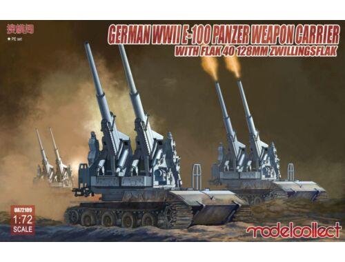 Modelcollect German WWII E-100 panzer weapon carrier w.FLAK 40 128MM Zwillingsflak 1:72 (UA72109)