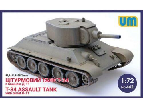 Unimodel T-34 Assault tank with turret D-11 1:72 (442)