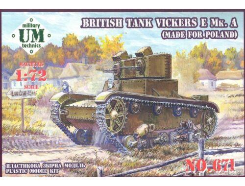 Unimodel Vickers E Mk.A British tank(made f.Polan rubber tracks 1:72 (T671)