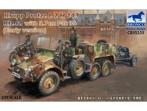 Bronco Krupp Protze Kfz.69 L 2 H 143 with 3.7cm Pak 36 (Early version) 1:35 (CB35133)