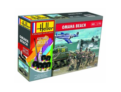 Heller Model Set Omaha Beach(Sherman,P51,LCVP,FigurinesUS 1:72 (53012)