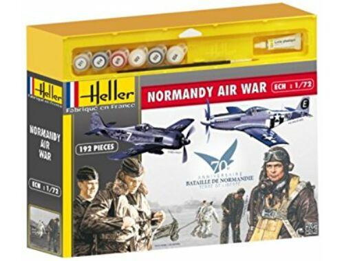 Heller Model Set NORMANDIE AIR War(Mustang, Focke Wulf, 2 sets de figurines) 1:72 (53014)
