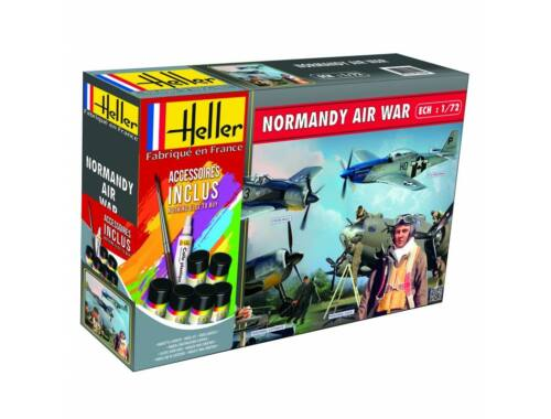 Heller Model Set NORMANDIE AIR War(Mustang, Focke Wulf, 2 sets de figurines) 1:72 (53014)