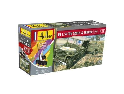 Heller Model Set US 1/4 Ton Truck Trailer 1:72 (56997)