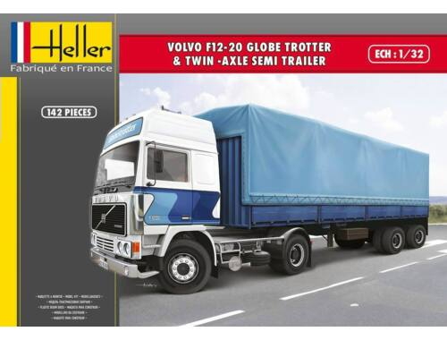 Heller VOLVO F12-20 Globetrotter   Twin-Axle Semi trailer 1:32 (81703)