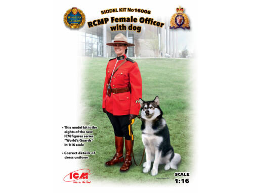 ICM RCMP Female Officer with dog 1:16 (16008)