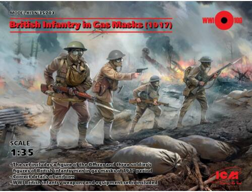 ICM British Infantry in Gas Masks(1917)4 Figu 1:35 (35703)
