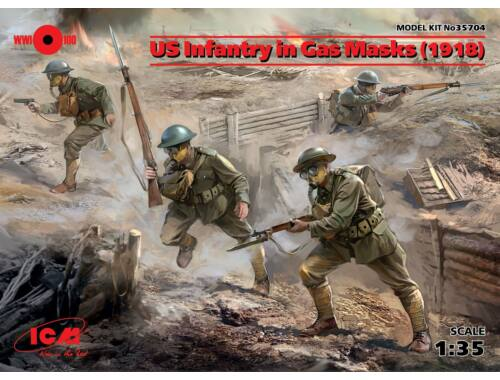 ICM US Infantry in Gas Masks(1918)4 Figures 1:35 (35704)